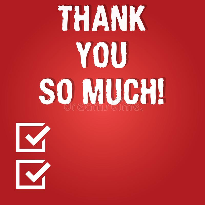 Ordhandstiltext tackar dig så mycket Affärsidé för uttryck av tacksamhethälsningar av tom färg för gillande stock illustrationer
