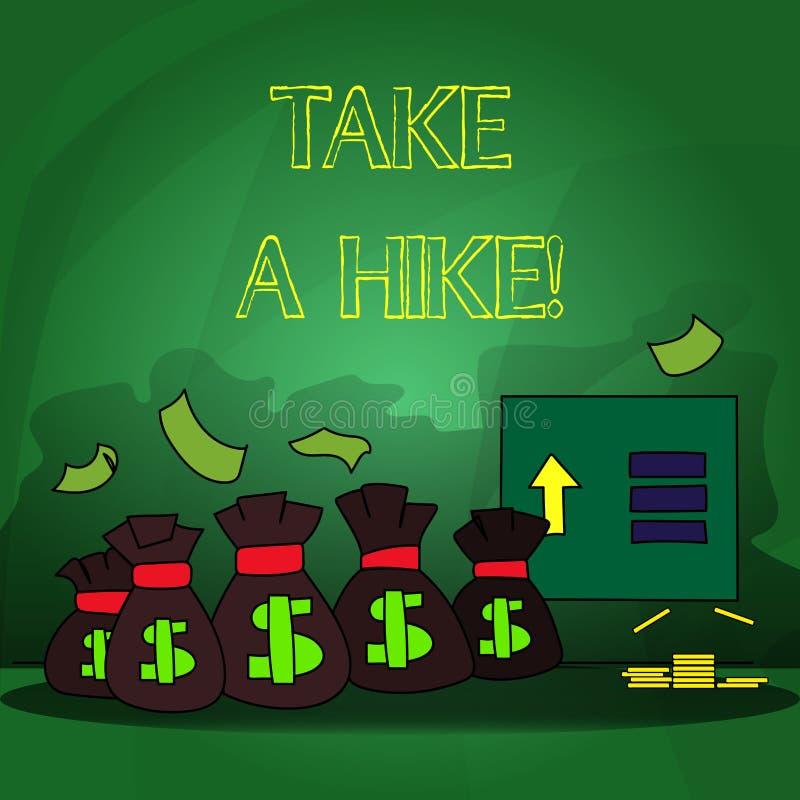 Ordhandstiltext tar en vandring Affärsidé för Go på en uppehälle för affärsföretagaktivitetsfotvandring i natur stock illustrationer