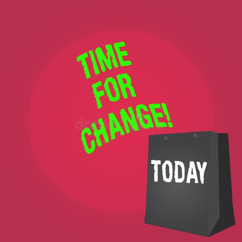 Ordhandstiltext Tid för ändring Affärsidéen för övergång att växa för att förbättra omformar för att framkalla arkivfoto