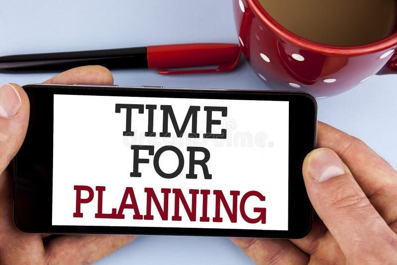 Ordhandstiltext Tid för att planera Affärsidé för start av beslut för en projektdanande som organiserar schema som är skriftligt  arkivbilder