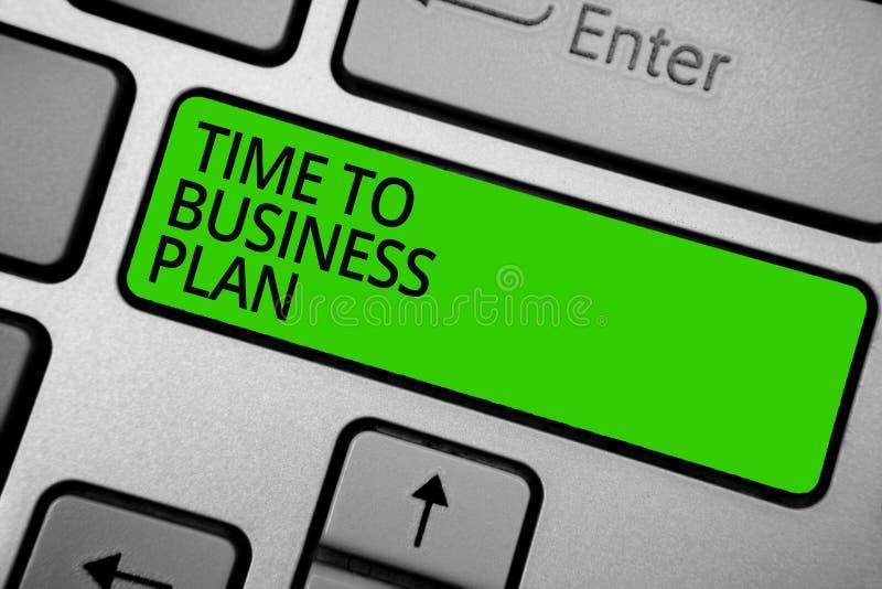 Ordhandstiltext Tid till affärsplanet Affärsidé för organiserande schema för knapp för gräsplan för tangentbord för arbetsmarknad vektor illustrationer