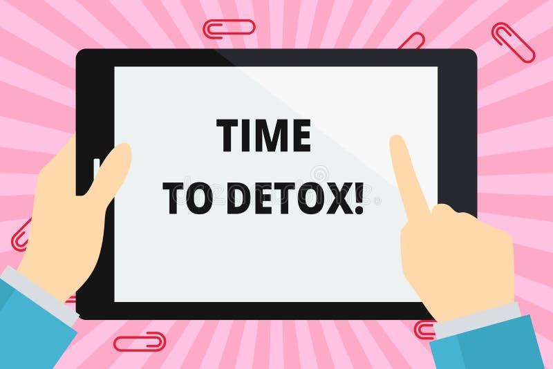 Ordhandstiltext Tid till detoxen Affärsidé för, när du renar din kropp av toxin eller att stoppa att konsumera droghanden stock illustrationer