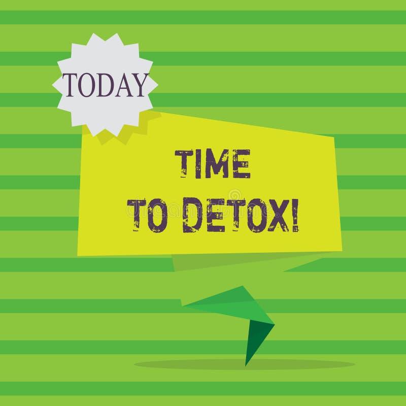Ordhandstiltext Tid till detoxen Affärsidé för, när du renar din kropp av toxin eller att stoppa att konsumera drogmellanrumet stock illustrationer