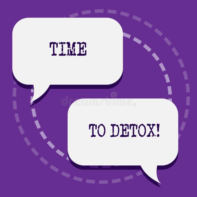 Ordhandstiltext Tid till detoxen Affärsidé för, när du renar din kropp av toxin eller stoppar att konsumera drog två vektor illustrationer