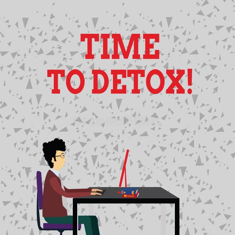 Ordhandstiltext Tid till detoxen Affärsidé för, när du renar din kropp av toxin eller stoppar att konsumera drogen vektor illustrationer