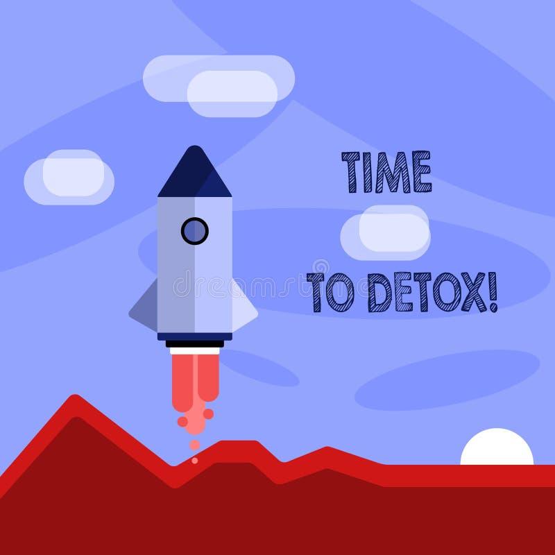 Ordhandstiltext Tid till detoxen Affärsidé för, när du renar din kropp av toxin eller stoppar att konsumera drogen stock illustrationer