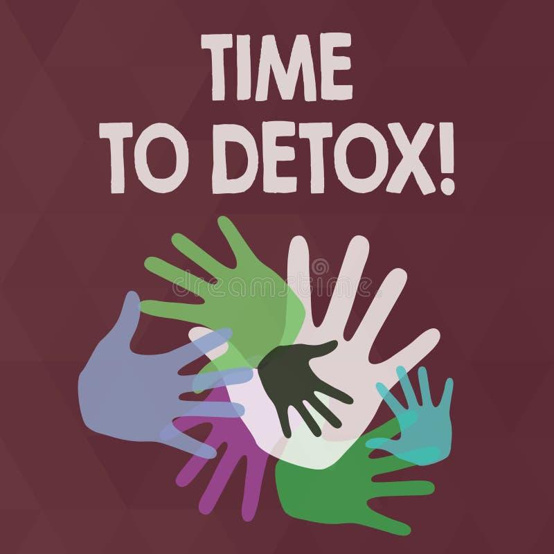 Ordhandstiltext Tid till detoxen Affärsidé för, när du renar din kropp av toxin eller stoppar att konsumera drogfärg royaltyfri illustrationer