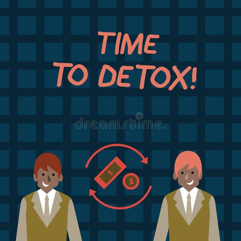 Ordhandstiltext Tid till detoxen Affärsidé för, när du renar din kropp av toxin eller stoppar att konsumera drogpengar vektor illustrationer