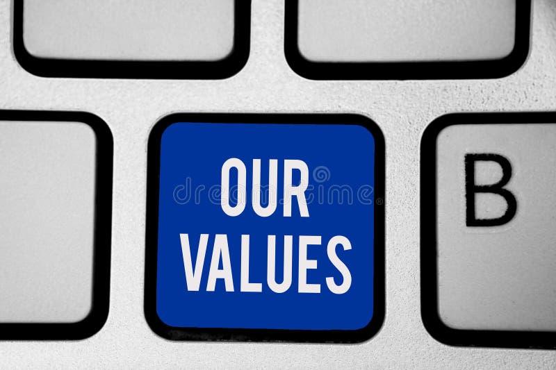 Ordhandstiltext våra värden Affärsidéen för lista av moralföretag eller individer begår för att göra dem tangentbordblåtttangente vektor illustrationer