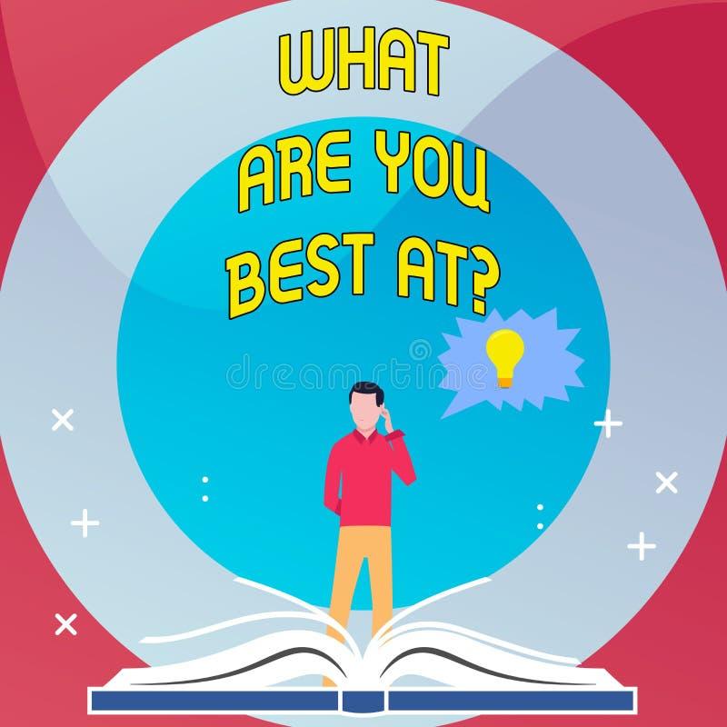 Ordhandstiltext vad är dig bästa Atquestion Affärsidéen för individuell kreativitet är en unik kapacitet royaltyfri illustrationer