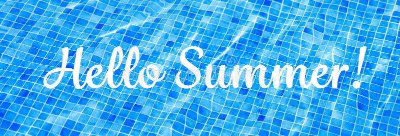 OrdHello sommar p? bl?tt rivit s?nder baner f?r semester f?r sommar f?r vattenbakgrundssimbass?ng arkivbilder