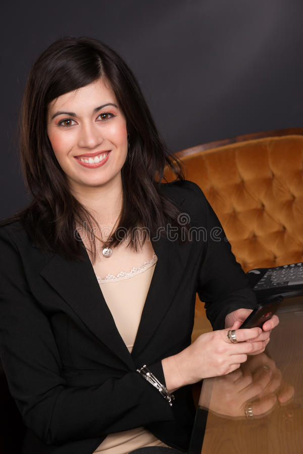 Ordinary Brunette Woman Draws Attention Girl Next Door Business royalty free stock image