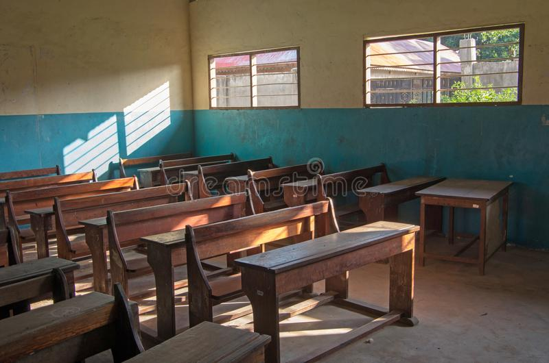 An ordinary classroom in an African school. Classroom during the holidays royalty free stock photography