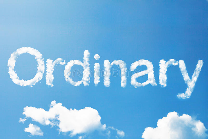 Ordinary cloud word. Floating in the sky stock photos