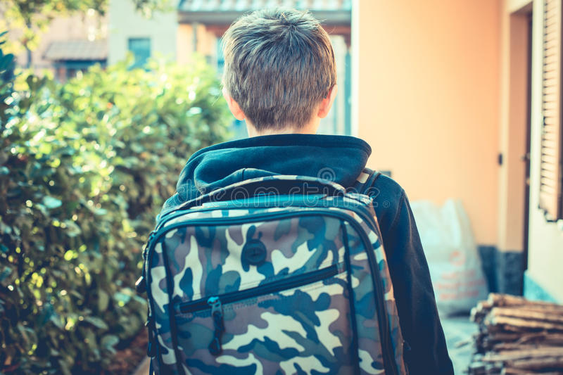 An ordinary day - go to school. Vintage style photo royalty free stock image