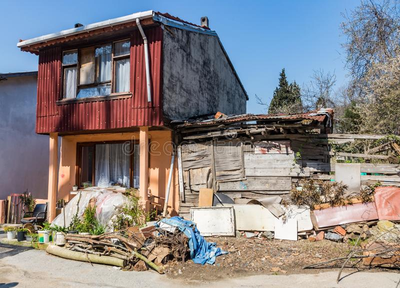 An ordinary house in a poor Turkish village royalty free stock photo