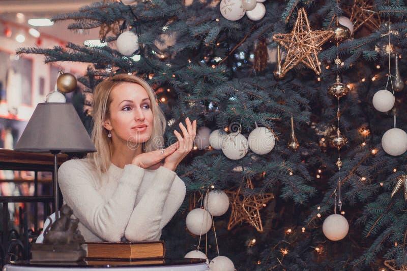 Ordinary long hair girl celebration Christmas. Ordinary blonde long hair girl celebration Christmas stock photo