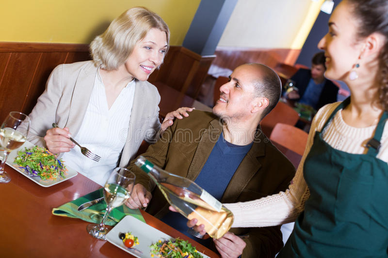 Ordinary mature couple having dinner royalty free stock images