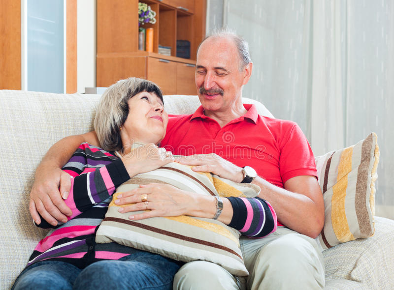 Ordinary mature couple together royalty free stock images