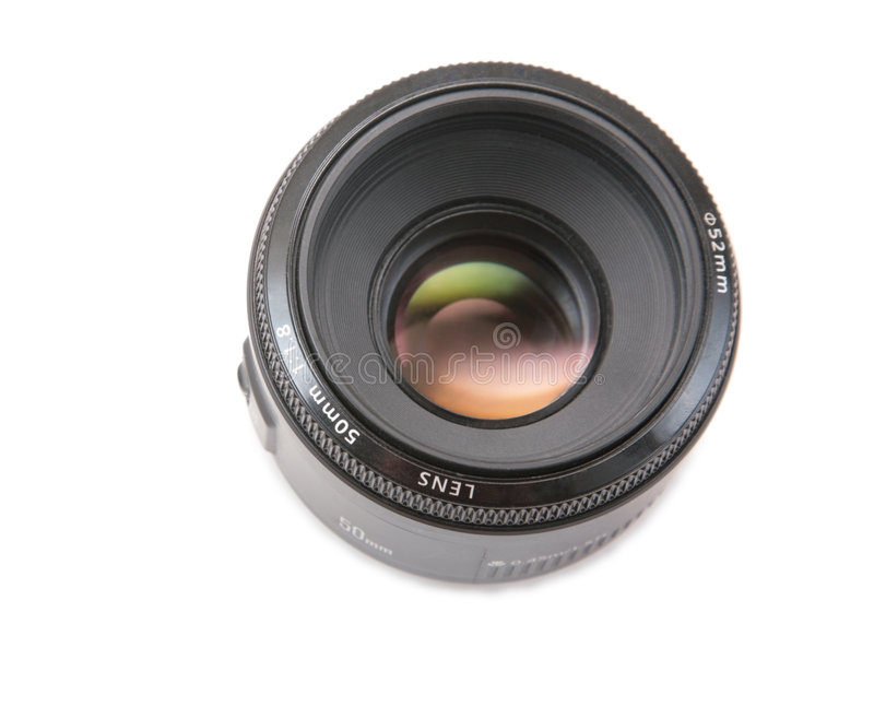 Ordinary photo lens. On white royalty free stock photography