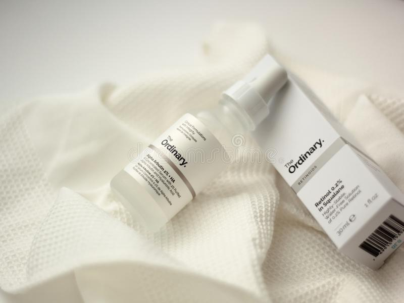 The Ordinary products. Chorzow, Poland - May 26, 2019: The Ordinary products on white background. The Ordinary is a skincare brand owned by Deciem company stock photo