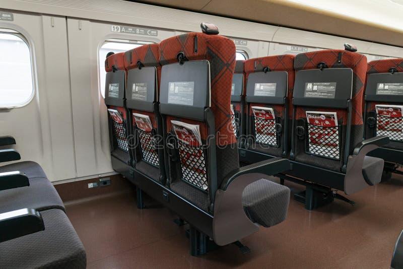 Ordinary seats of the E7/W7 Series bullet (High-speed) train. NAGANO,JAPAN-APRIL 8,2016: Ordinary seats of the E7 Series bullet (High-speed or Shinkansen) train royalty free stock photography