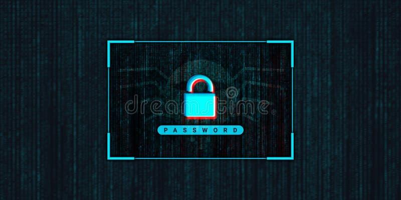 Ordinateur abstrait entaillant la photo courante de fond, concept de crime de Cyber illustration de vecteur