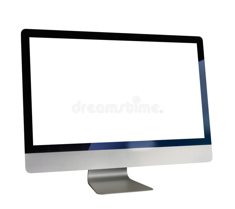 Ordinateur avec l'écran blanc photographie stock libre de droits