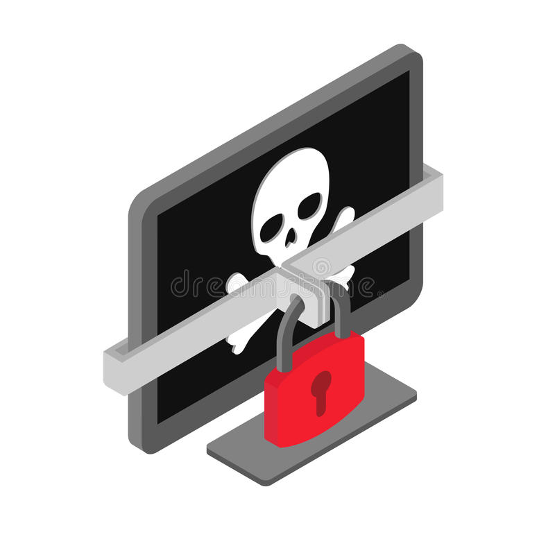 Ordinateur avec le crâne de pirate - virus, criminalité de cyber de pirate informatique, malware, concept de ransomware illustration libre de droits