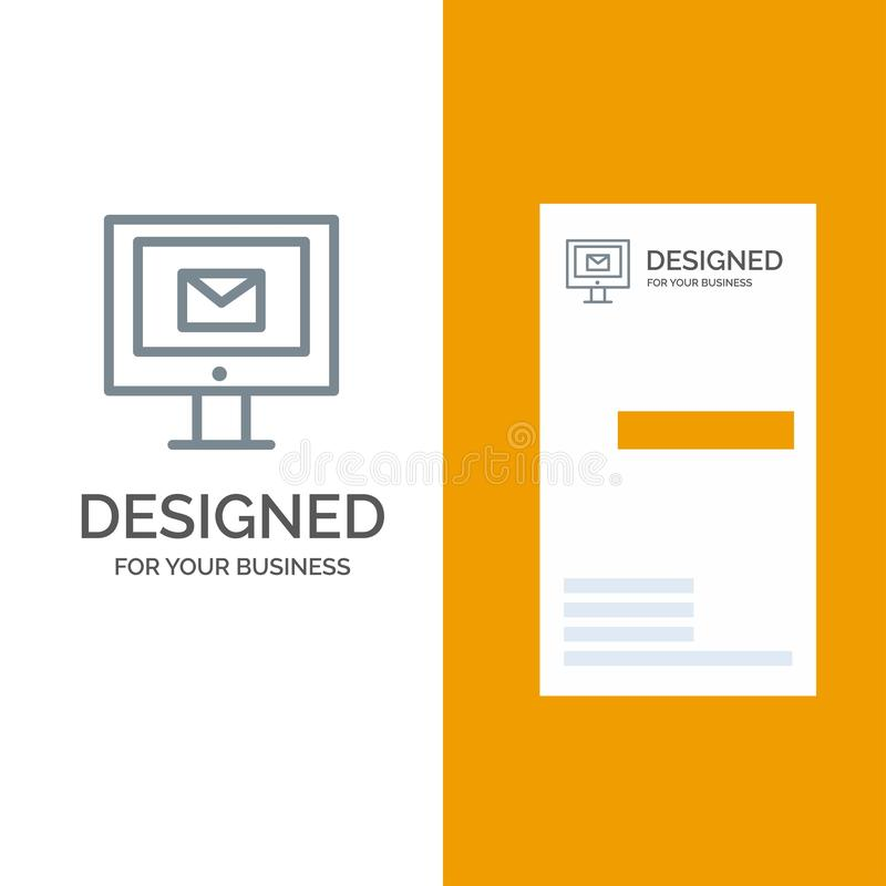 Ordinateur, courrier, causerie, service Grey Logo Design et calibre de carte de visite professionnelle de visite illustration de vecteur
