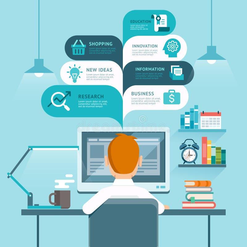 ordinateur d'homme d'affaires utilisant illustration stock