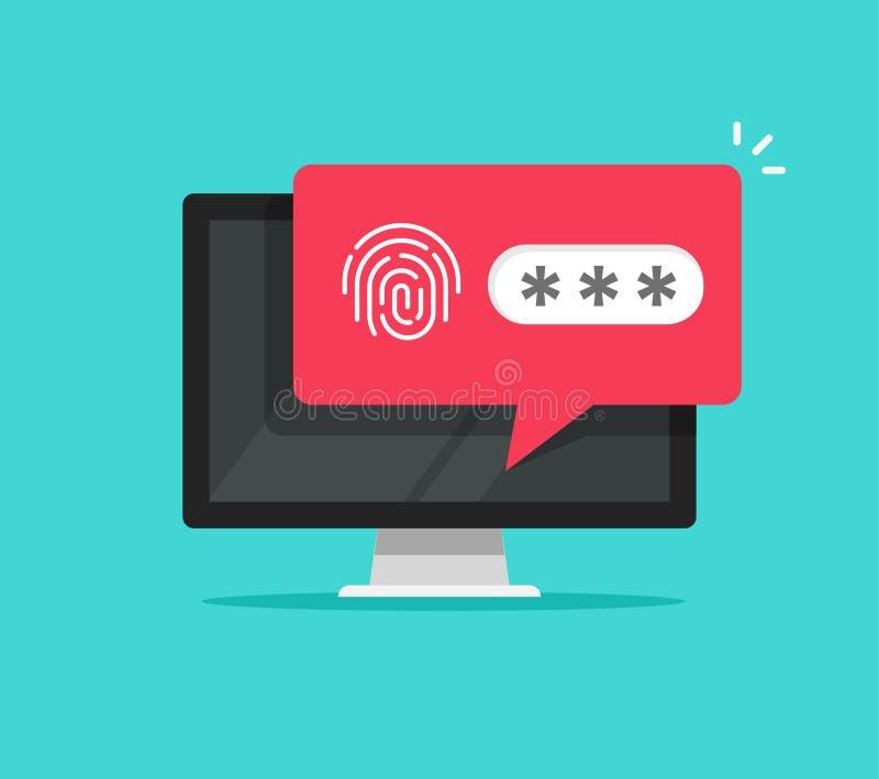 Ordinateur de bureau avec débloqué par l'intermédiaire de l'avis de bulle de mot de passe d'empreinte digitale, de la conception  illustration libre de droits