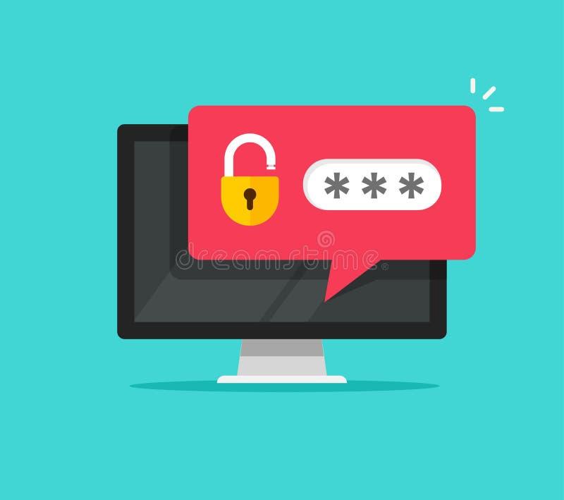 Ordinateur de bureau avec l'avis débloqué de bulle de mot de passe, écran plat de PC de bande dessinée avec la serrure ouverte et illustration stock