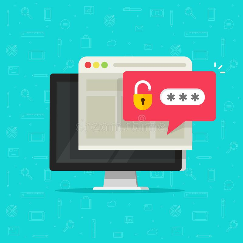 Ordinateur de bureau avec l'avis débloqué de bulle de mot de passe, écran plat de PC de bande dessinée avec la serrure ouverte et illustration libre de droits