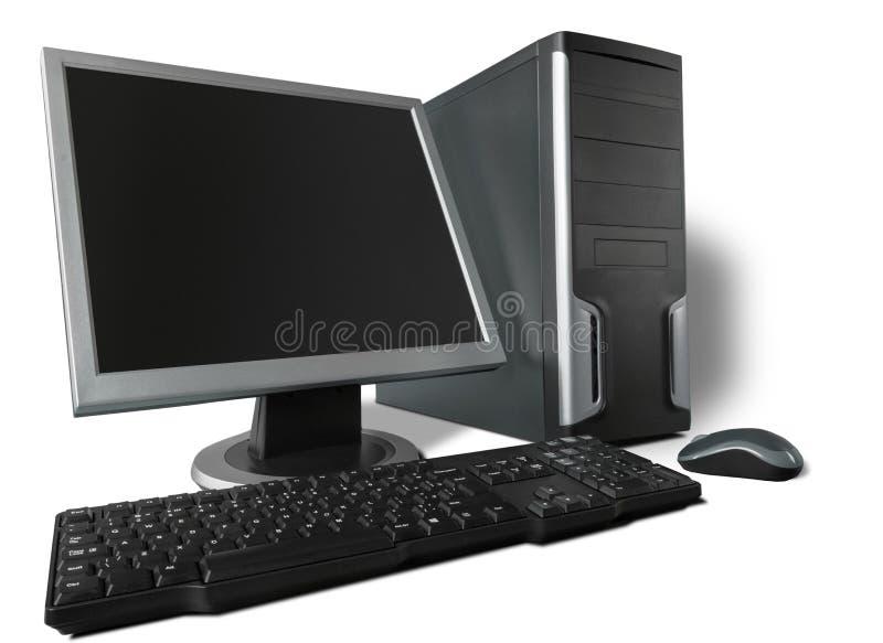 Ordinateur de bureau et clavier sur le fond photographie stock