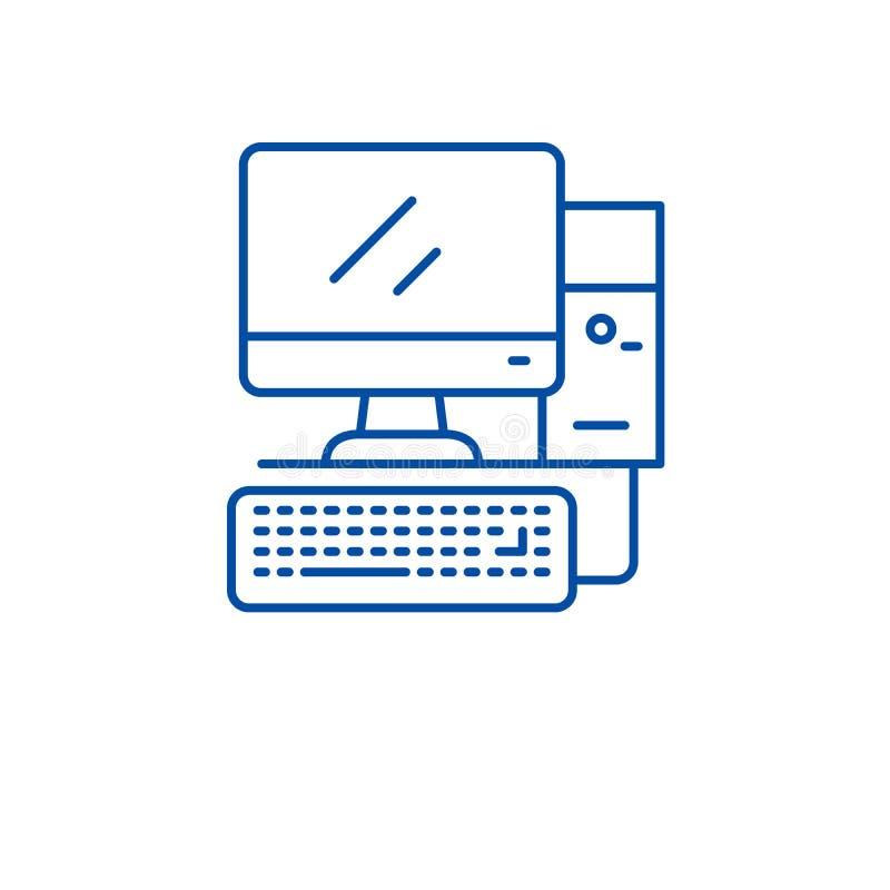 Ordinateur de bureau, ligne concept de poste de travail d'icône Ordinateur de bureau, symbole plat de vecteur de poste de travail illustration libre de droits