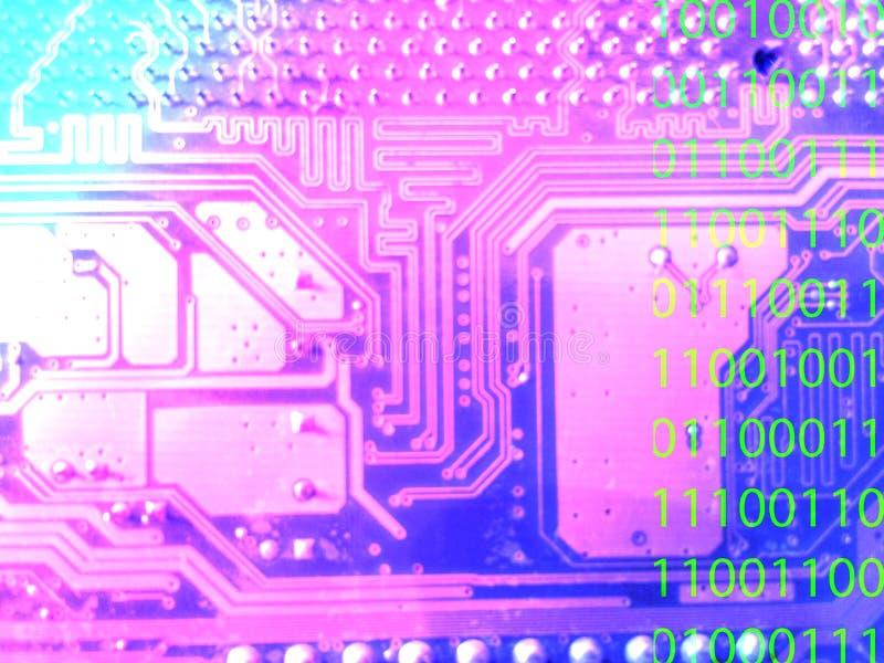 Ordinateur de carte mère abstrait avec le code numérique photo stock