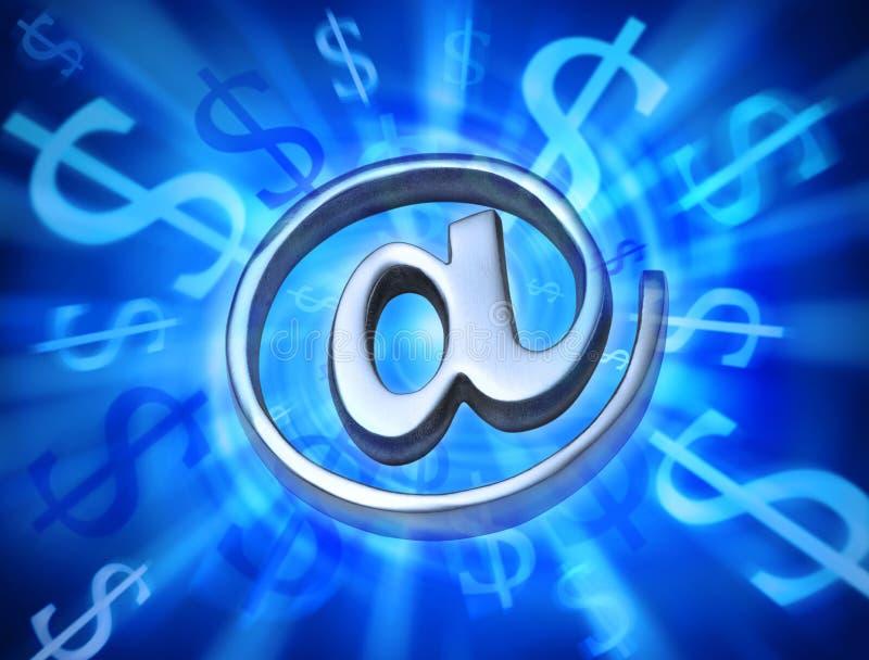 Ordinateur de courrier électronique Internet de vente d'argent images libres de droits
