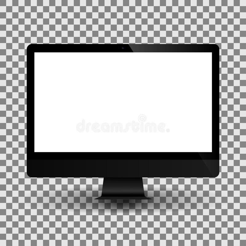 Ordinateur de monoblock de vecteur avec l'écran blanc vide Affichage réaliste de PC illustration libre de droits