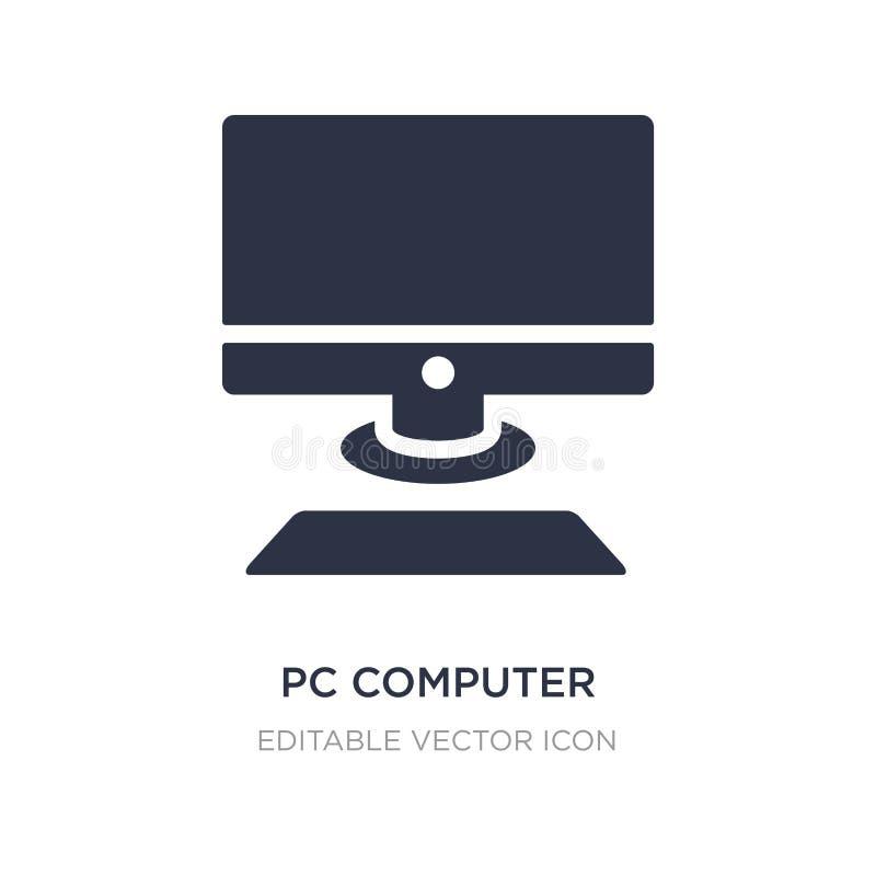 ordinateur de PC avec l'icône de moniteur sur le fond blanc Illustration simple d'élément de concept d'ordinateur illustration libre de droits