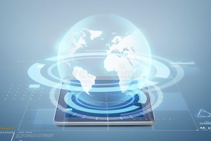 Ordinateur de PC de Tablette avec la projection de globe illustration stock