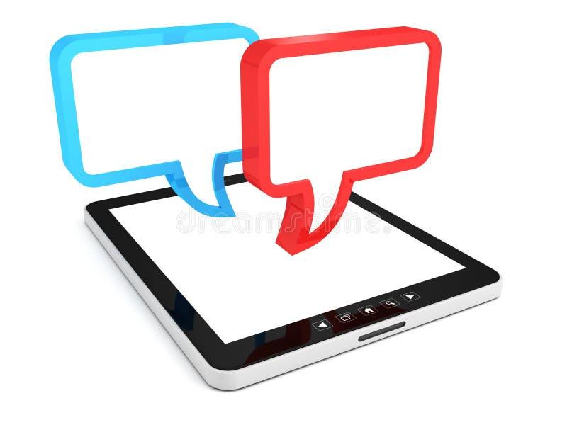 Ordinateur de PC de tablette avec les bulles blanc de dialogue illustration de vecteur