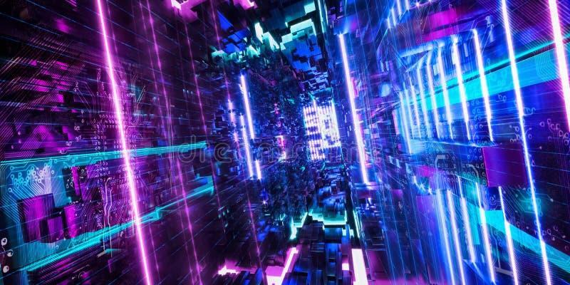 Ordinateur de Quantum, stockage, réalité virtuelle, lampe au néon bleue de rose futuriste rendu 3d illustration stock