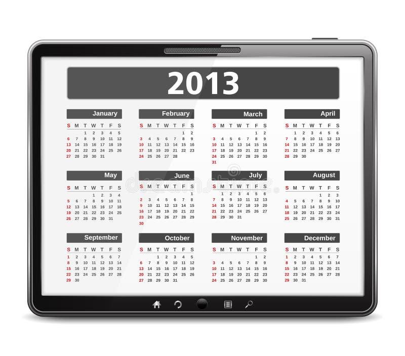 Ordinateur de tablette avec le calendrier 2013 illustration libre de droits