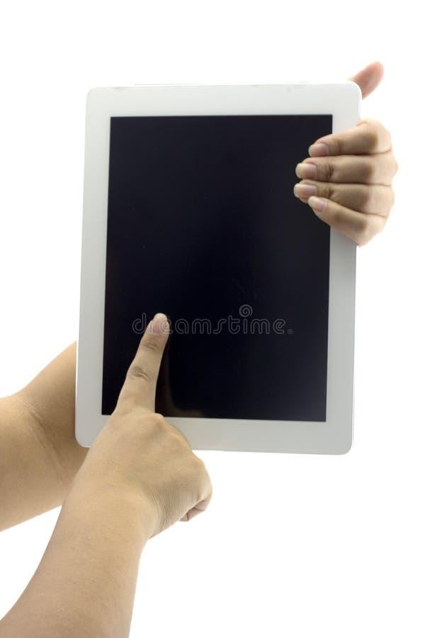 Ordinateur de tablette d'isolement dans une main 1 photographie stock libre de droits