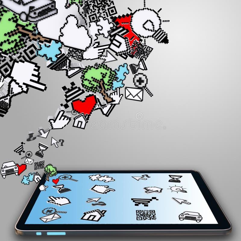 Ordinateur de tablette et curseur de Pixel illustration stock