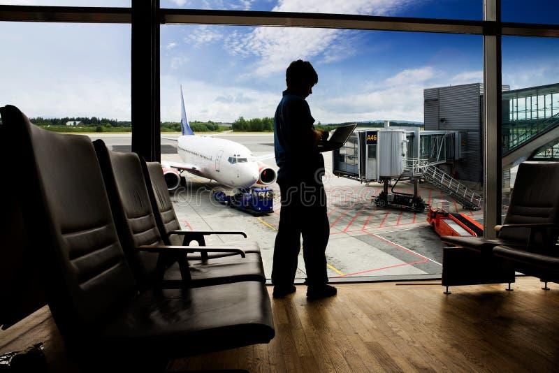 Ordinateur de terminal d'aéroport image libre de droits