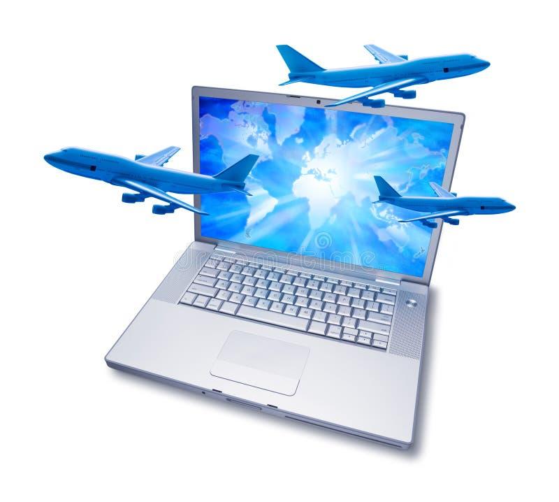 Ordinateur en ligne d'avion de course de réservation photographie stock