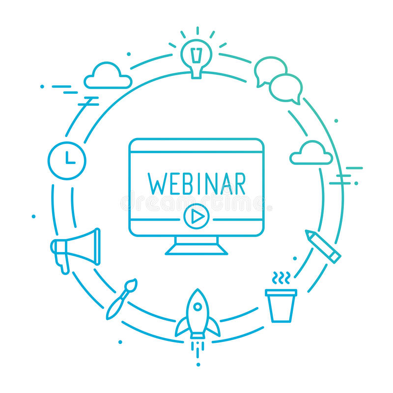 Ordinateur entouré par des icônes de Social d'ensemble Webinar, Webcast, Livestream, illustration en ligne d'événement illustration de vecteur