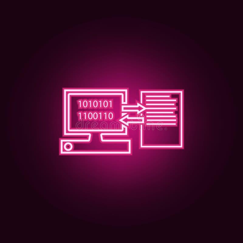 ordinateur et document sur l'ic?ne de feuille ?l?ments de Web dans les ic?nes au n?on de style E illustration stock